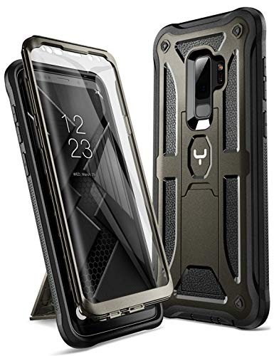 YOUMAKER Galaxy S9+ Plus Case, Full-Body Rugged Kickstand Case with Built-in Screen Protector Heavy Duty Protection Shockproof Case Cover for Samsung Galaxy S9 Plus 6.2 inch (2018) - Gun Metal/Black