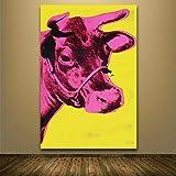 syssyj Leinwandmalerei Dekorative Gemälde Kuh Tiermalerei Zeichnungskunst Spray quadratisches Messing technisches Design Design Stroh