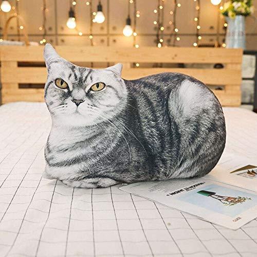 N / A Simulation Cat&Tiger Plush Pillows Soft Stuffed Lifelike Animals Cushion Cartoon Toy for Children Girls Gifts Sofa Decor 50cm