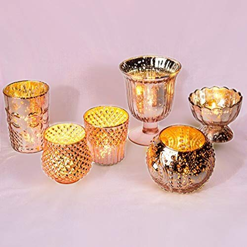 Luna Bazaar Vintage Glam Mercury Glass Tealight Votive Candle Holders (Rose Gold Pink, Set of 6, Assorted Designs and Sizes) - for Weddings, Events, Parties, and Home Dcor, Ideal Housewarming Gift