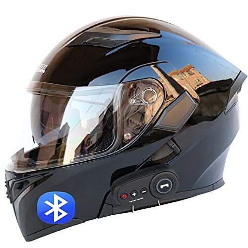 Casco de Moto Modular Bluetooth Integrado,ECE Homologado,con Doble Visera Cascos de Motocicleta,con Anti Niebla Doble Visera Casco Integrado A,M=57~58cm