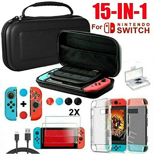 Funda para Nintendo Switch , Accessorios 15 en 1 de Protección Carcasa Anti-Choque/Arañazo Impermeable Compatible para Nintendo Switch