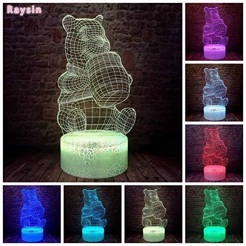 Cartoon Honig Gelb Teddybär Hologramm Weihnachtsspielzeug 3D LED Nachtlicht USB Tischlampe Kinder...