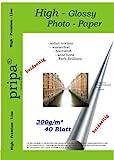 Pripa - Papel fotográfico para impresoras de inyección (doble cara, 40 hojas, DIN A4 , 300 g/m², acabado brillante, secado rápido, resistente al agua), color blanco