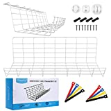 Magicfly 2 Pack Widened Under Desk Cable Management, Cable Tray for Wire Storage with 3 Cord Holders and 4 Cable Ties, Metal Cable Organizer for Office, Home, White