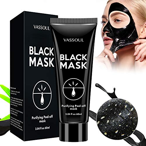 Vassoul Blackhead Remover Mask, Peel Off Blackhead Mask - Deep Cleansing Black Mask, Bamboo Activated Charcoal Peel-Off Mask (V002)