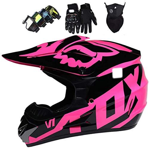 Casco de motocicleta, conjunto de casco de motocicleta de motocross con gafas/guantes/máscara, casco de MTB de cara completa para scooter todoterreno cuesta abajo Dirt Bike MX ATV con diseño Fox