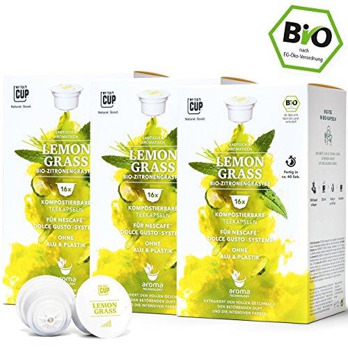 BIO Teekapseln von My-TeaCup | Kompatibel mit Dolce Gusto®*-Maschinen | Industriell kompostierbare Kapseln ohne Alu (Kräutertee Lemon Grass, 48 Kapseln)