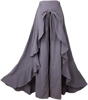 b288b917c643bf Donna Gonna Pantalone Eleganti A Vita Alta Puro Colore Irregolare con  Volant Gonna Lunga Moda Giovane
