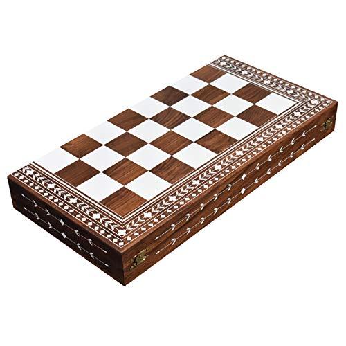 Tablero de ajedrez plegable de madera de Sheesham sólido y acrílico de 55 mm con incrustaciones de marfil