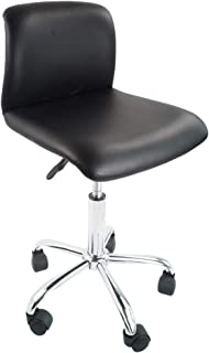 KKTONER PU Leather Low Back Office Chair Swivel Height Adjustable Computer Desk Chair Rolling Stool Black