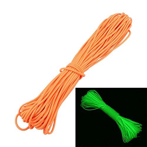 zjchao(TM 9 Strand Paracord Seil leuchtet im Dunkeln Fallschirm-Schnur 550 (orange, 25ft)