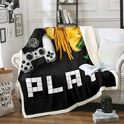 Loussiesd Manta de sherpa de videojuegos, para sofá, cama, manta de forro polar, controlador de juego, manta de felpa, decorativa, color negro y blanco, manta para bebé de 76 x 101 cm