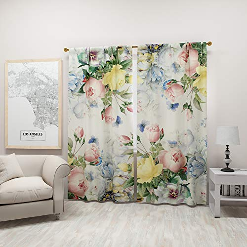 Factory4me Pastel Curtains Flower Botanical Prints Multi Colored Flowered Peony Drapes   Spring Decoration Colorful Floral Printed Window Set of 2 84 Inch Panels for Living Room Bedroom Kitchen