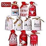 Shengo ラッピング 袋 ギフトバッグ 巾着袋 クリスマス 50個セット おしゃれ プレゼント用 ギフトグッズ 包装用 小物入れ