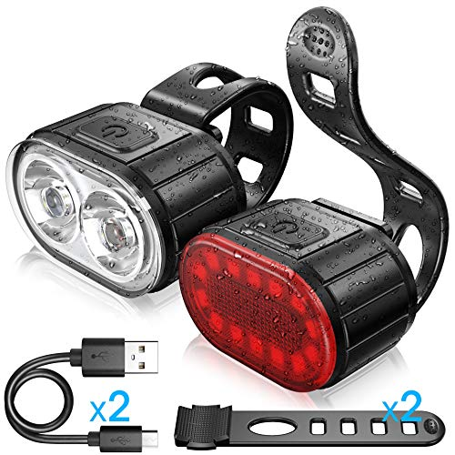 WASAGA Bike Light Set, Bicycle Sport LED Taillight and Headlight USB Rechargeable Waterproof, 4 Light Mode Front Light and 6 Light Mode Rear Light Perfect for Mountain or Road Bike