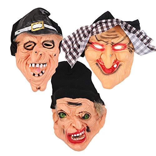 SAILORMJY Maske Halloween, 3 Stück Cosplay Maske Halloween Cosplay Kostüm Maske Erwachsenen Latex Gesichtsmasken Kostümfest Horrorfilm Requisiten Merchandise Zubehör Weibliche Hexenmaske