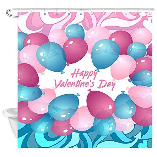 DYNH Valentinstag Luftballon Duschvorhang, blau-rosa, violett Luftballon Valentinstag abstrakte Malerei Badevorhang, Polyesterstoff Badezimmer Vorhang mit 12 Haken, 177,9 x 177,8 cm