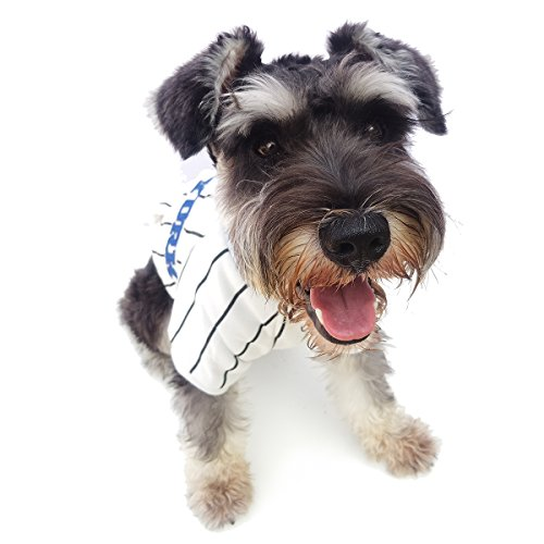 Bomate Welpen Kleidung Jacke Haustier Hund Baseball Jersey Fleece Wintermantel (3XL, Weiß)