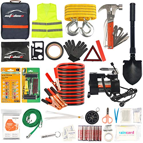 AUTODECO Car Roadside Emergency Kit – Premium, Heavy Duty Car Roadside Emergency Kit – Jumper Cables, Portable Air Compressor, Tow Strap, Multifunctional Hammer, Shovel, etc