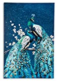 Yelash Peacocks Oil Painting on Canvas Wall Art 24x36 inch Wall decoration Wall pictures for Home Decor 60x90cm hand painted acrylic painting.