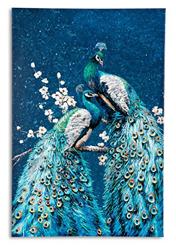 Yelash Couple Peacock Canvas Wall Art Phoenix with Vertical Colorful Feathers on White Flower Branch in Teal Background Oil Painting Decor for Living Room 24x36 inch