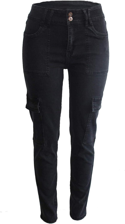 FOURSTEEDS Women's Mid Waist Stretch Skinny Slim Multi-Pocket Ankle Length Denim Cargo Pants Jogger Jeans