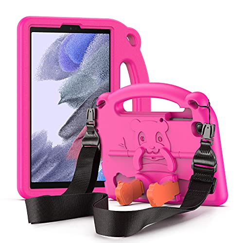 DUZZONA Kinder Hülle für Samsung Galaxy Tab A7 Lite 8.7 2021(SM-T220/T225/T227),Eva Leicht Stoßfest Tab A7 Lite Case mit Kinder Griff und Schultergurt, für Galaxy Tab A7 Lite 8,7 Zoll 2021,Magenta