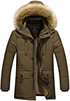Allthemen Manteau Homme à Capuche Simili Fourrure d'hiver épais en Coton Chaud Trench Coat Long Outwear