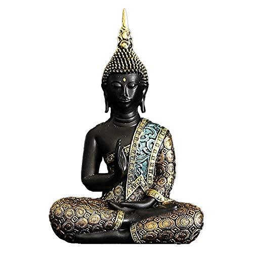 TPCYAN Meditation Buddha Statue Sculpture, Green Resin Hand Made, Buddhism Figurine 11×16cm/14×19.5cm, Home Decor (Size : 11×5.8×16cm)