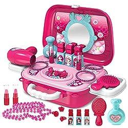 Buyger 21 Stück Prinzessin Rollenspiel Schminkset Spielzeug Schminkkoffer Schminksachen Friseur Set Geschenk für Kinder Mädchen ab 3 Jahre