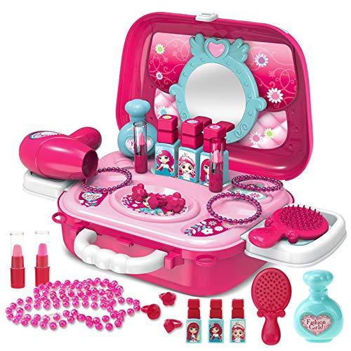 Buyger 21 Pezzi Giochi Trucchi Gioielli Make Up Specchiera Giocattolo Bambina Bambine Borsetta 3 Anni, Giochi d'imitazione Bambina