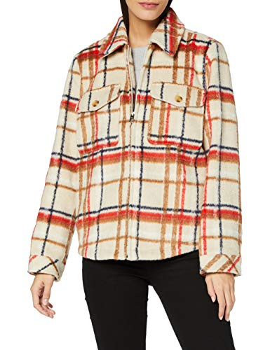 TOM TAILOR Damen Karo Jacke, 25048-beige Multi Check, L