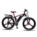 GFKD Electric Bikes for Adult, Mens Mountain Bike Magnesium Alloy Ebikes Bicycles All Terrain 26' 36V 350W Removable Lithium-Ion Battery for Outdoor Cycling Travel Work Out,Black,13AH90KM