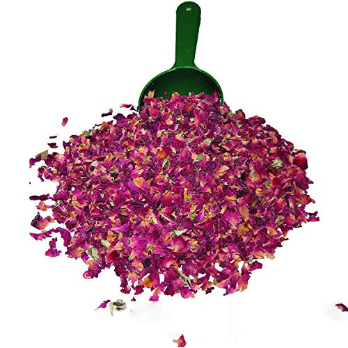 Dried Red Rose Buds and Petals | 4 Oz. Food grade, No caffeine, No preservatives. Use in for making rose water, Tea, Desserts, Cakes, Breads.