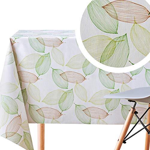 Vinilo Mantel con Diseño con Hojas, Verde Gris y Crema de PVC Fácil de Limpiar - 200x140 cm - Rectangular de PVC Plástico, Mantel de Hule Lavable con Textura en Relieve