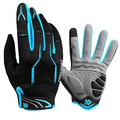 Neusky Vollfinger-Fahrradhandschuh, hoch atmungsaktiv, lange Finger, Mountainbiking-Handschuh für Trail/XC/DH/AM/Enduro (Schwarz-Blau, M)