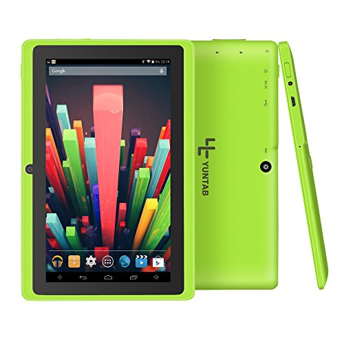 Yuntab Google Tablet 7 Zoll Q88 Android 4.4 Tablet PC Quad-Core Allwinner A33 HD 1024x600 8GB 1.5GHz 1GB Dual Kamera Google Play Vorinstalliert,WLAN,3D, Bluetooth (Green)