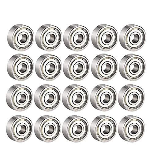 608 rodamientos de bolas ZZ, 608zz rodamientos de metal de doble blindaje en miniatura con ranura profunda para patinetas (8 mm x 22 mm x 7 mm)