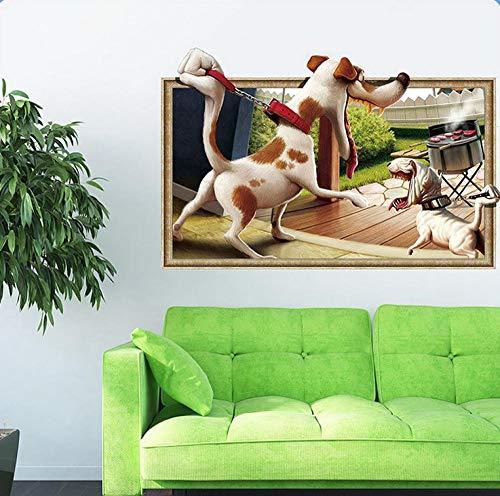 3D-Welpe dreidimensionale Wandaufkleber Cartoon gierig Grill Schlafzimmer Wohnzimmer Dekoration Malerei DIY benutzerdefinierte