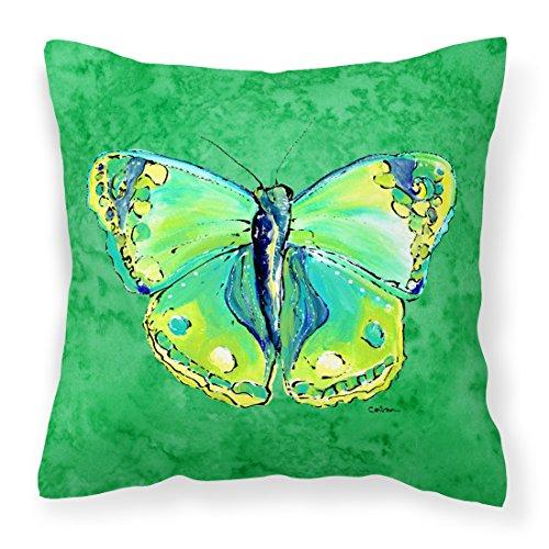 Caroline's Treasures Farfalla Verde su Verde Tessuto Decorativo Cuscino