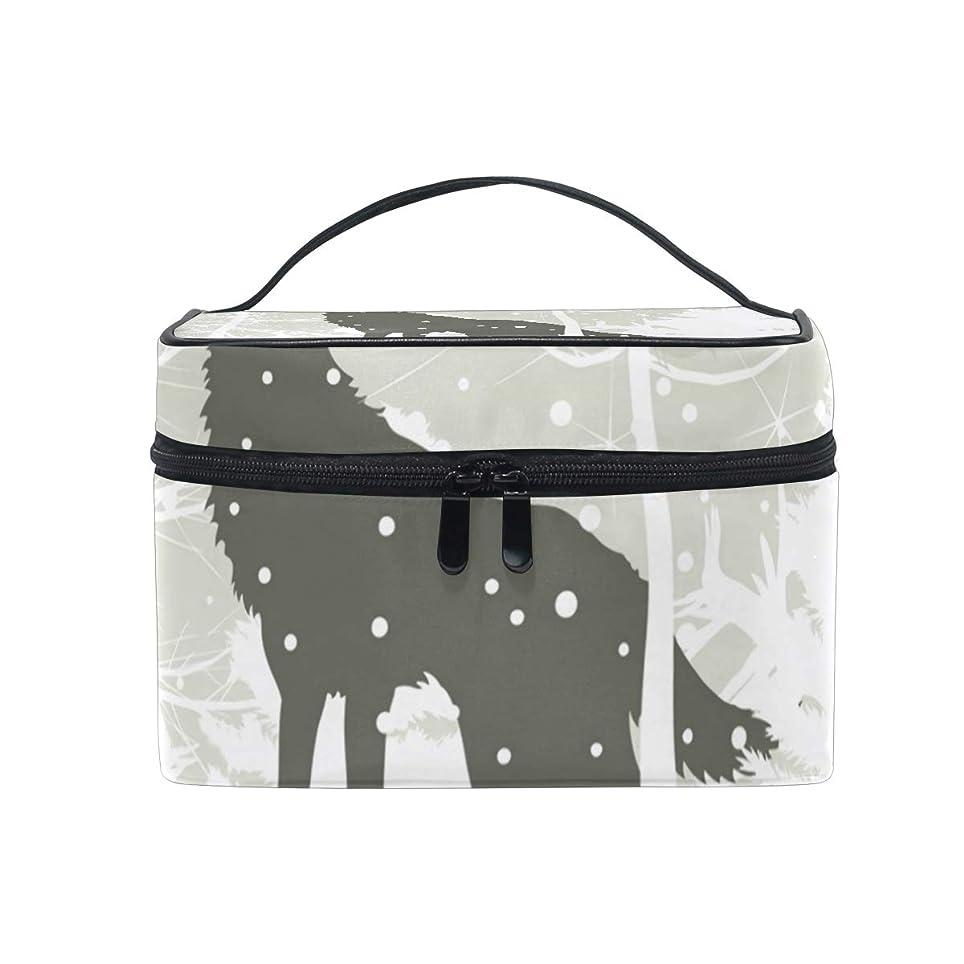 お風呂傷つきやすい北西メイクボックス オオカミ柄 化粧ポーチ 化粧品 化粧道具 小物入れ メイクブラシバッグ 大容量 旅行用 収納ケース
