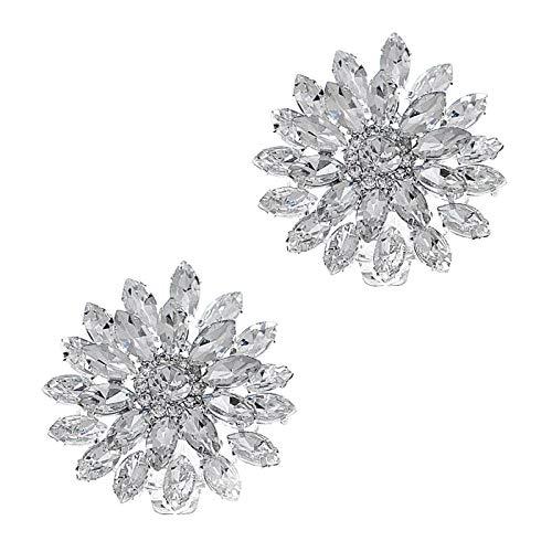 Hellery 2 Piezas de Moda Decorativo Cristal Diamantes de imitación Flor Zapatos Embrague Vestido Sombrero Zapato Clips Blanco