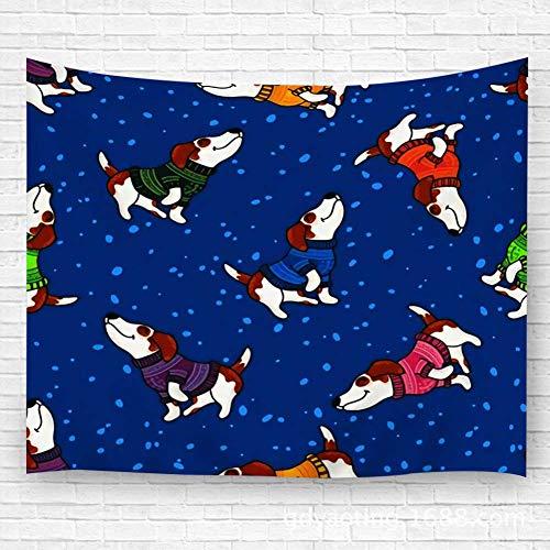 WKLNM tapijt muur kunst opknoping wanddecoratie tapijt nieuwe jaar en kerst met honden in kleurrijke truien winter handwerk voor slaapkamer woonkamer Dorm 39.4