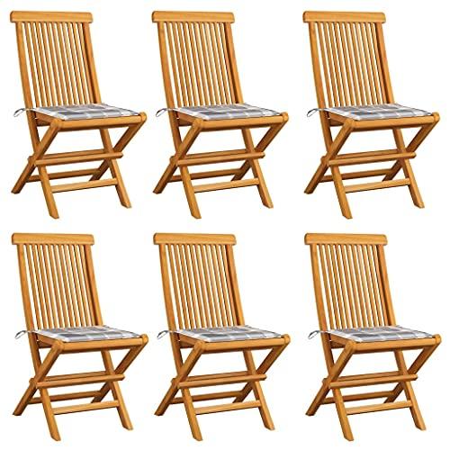 vidaXL 6X Madera de Teca Sillas de Jardín y Cojines Sillón Exterior Balcón Terraza Patio Asiento Butaca Muebles Mobiliario A Cuadros Gris