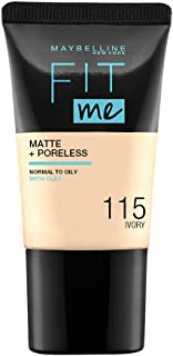 Maybelline Fit Me Matte and Poreless Foundation - 115 Ivory, 18 ml