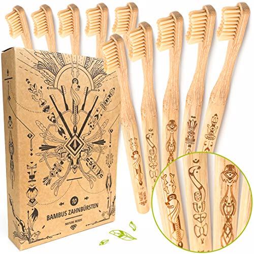 Nature Nerds - Bambus-Zahnbürsten im Set (10er Pack) / Härtegrad: Mittel