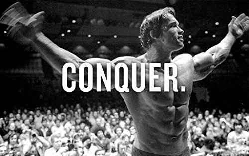 Arnold Conquer Gym Motivational Poster Druck in Größen, Papier, a2