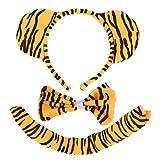 Greatangle Niños Animal Cebra/Tigre/Vaca/Lobo Gris/Cola de Mono y Orejas de Conejo Diadema y Pajarita 3 Piezas Fiesta Disfraz de Navidad Mascarada Negro y Amarillo