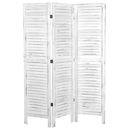 MyGift Whitewashed Wood 3 Panel Screen, Folding Louvered Room Divider